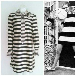 Vintage 60s MOD twiggy iconic striped dress
